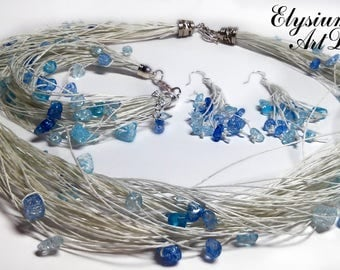Linen Jewelry Set Blue Beads White Linen Cord Eco Style Bracelet and Necklace Gift For Her