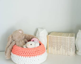 Small Peach and White Storage Basket