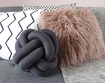 Knot Cushion in Slate Grey
