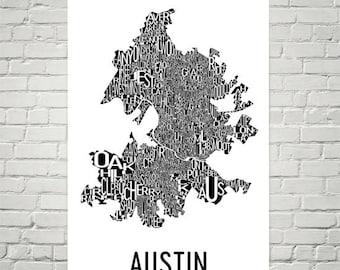 Austin Texas, Typography, Neighborhood Map, City Print, Austin Wall Art, Austin Art Poster, Gifts, Map of Austin, Austin TX, Austin Texas