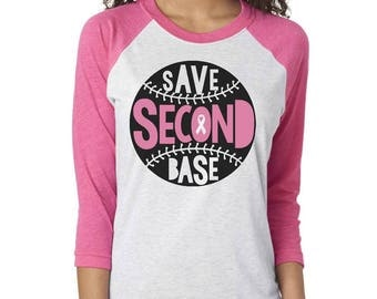 Save second base breast cancer awareness shirt save the tatas funny cancer shirt fuck cancer pink cancer shirt october breast cancer shirt