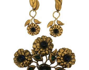 Joseff of Hollywood 1940s Russian Gold Plate Vintage Floral Brooch and Earrings Set