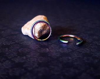 Rainbow Titanium Anodized Hinged Segment Rings (14g - 10g)