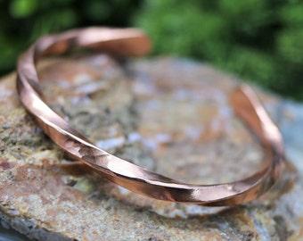 Hammered Twisted Copper Bracelet