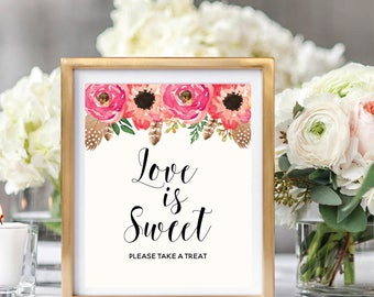 Love Is Sweet Sign, Take A Treat Sign, Floral Wedding Sign Printable, Watercolor Boho Chic, Instant Download, #BC001