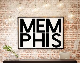 Memphis, Tennessee, Memphis Gift, Memphis Design, Tennessee Wall Decor, Memphis Wall Print, Memphis Nursery, Tennessee State Art, Wall Decor
