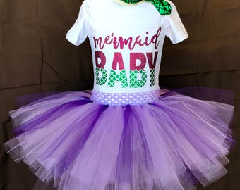 PurpleGreen Mermaid OnesieHeadband Tutu Set/BabyTutuSkirt/Toddler Tutu Outfit/Purple Tutu/GirlsOutfit/BeachTutu/Birthday/Ariel/LittleMermaid