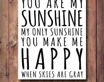 50% OFF You Are My Sunshine Print, Kids Room Decor, Printable Kids Gift, Nursery Print, Nursey Decor, Sunshine Print, Typography Art