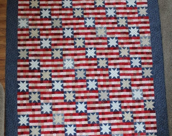 Large Full/Double, HANDMADE, Red, white, blue, patriotic, 84in x 102in, military