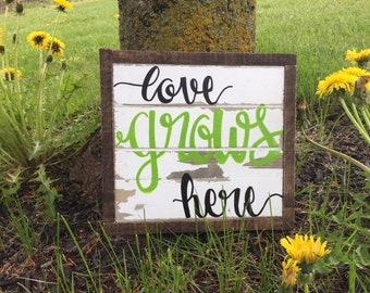 Rustic Boho Reclaimed Wood Sign- Love Grows Here