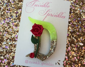 Beauty and the beast inspired enchanted rose brooch / necklace