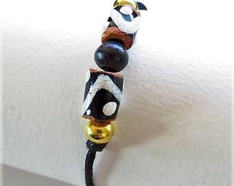 Waxed cotton bracelet 16273