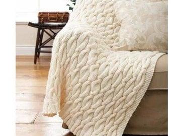 Shetland Chunky Cable Knit Afghan Throw Rug Knitting Pattern   PDF Digital  Download