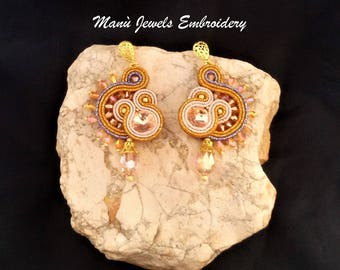 soutache earrings peach ginseng, soutache, soutache jewelry, soutache jewels, handmade earrings, artigianal earrings, soutache embroidery