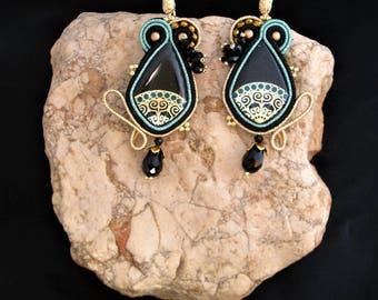 soutache earrings black gold, soutache, soutache jewelry, handmade earrings, boho earrings, ethno earrings, colorful earrings, embroidery
