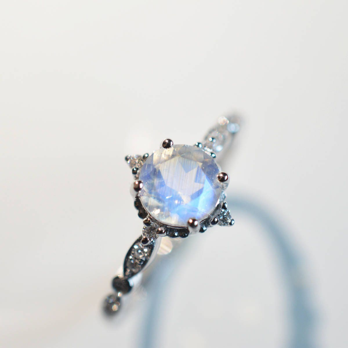 Moonstone Engagement Ring Blue Moonstone Engagement Ring 18k