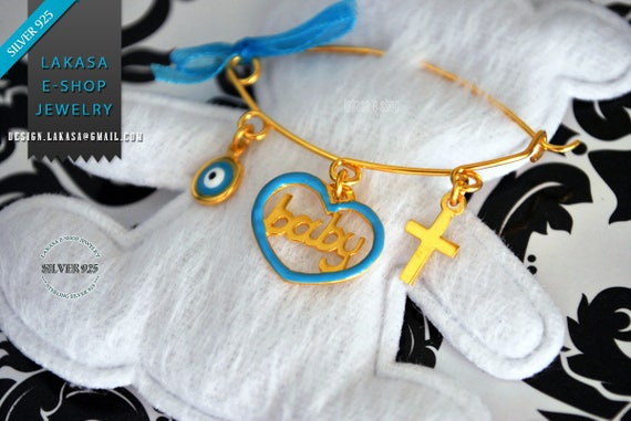 Blue Enamel Heart Baby Brooch Sterling Silver Gold Handmade Jewelry Cross Eye Mama Happy Shower Day Religious Baptism Newborn It is a Boy