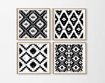 Ikat Art Printables, Set of 4 Ikat Wall Art, Black and White Ikat Art, Aztec Blue Wall Art, Tribal Art Black Square Large, Dining Room Art