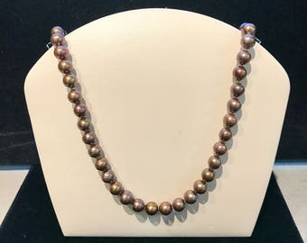 Vintage Light-Brown Freshwater Pearl Necklace N-FWP-35
