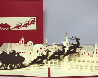 Flying Santa Sleigh Pop Up Christmas Card - Handmade Merry Christmas Pop Up Card - Christmas Santa Sleigh Card - Christmas Decoration Card