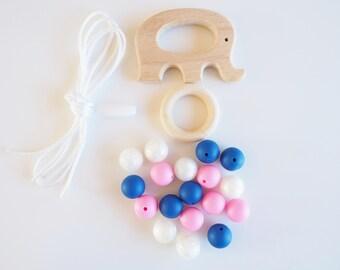 Elephant Teething Toy - Bite BeadS - Silicone Chewing Toy - Wood Teething Toy - Wooden Teether - Silicone Teethers - Silicone Beads DIY