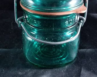 "Vintage Blue Mason Canning Jar Ball Ideal Bicentennial Eagle 1/2 Pint Wire 4""x3"""