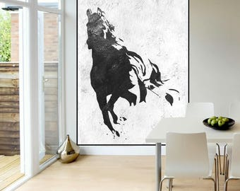 extra large wall art painting abstract horse painting black and white handmade original painting