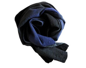 TUAREG BLUE scarf, Indigo scarf, blue scarf, Merino wool scarf, Unique handmade scarf, felt scarf, Nuno felt scarf, Blue wool scarf, Tuareg