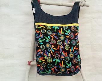 Mochila mujer estampado atrapasueños: Bolso mochila mujer - Mochila tejana boho - Mochila ergonómica - Mochila de tela - bolso maternidad