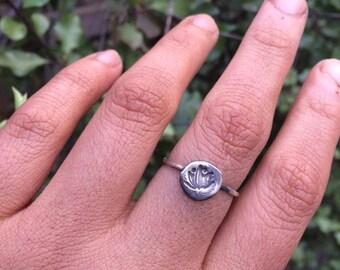 Molten Silver Lotus Ring / Sterling Silver Ring / Silver Lotus Ring / Hand Stamped Ring / Molten Silver Ring / Hammered Ring / Circle Ring