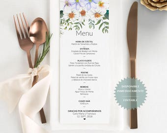 Menu de evento editable en PDF. Spanish printable table Menu. Wedding Menu. Menu para bodas. Menu para mesa. Menu para cena.