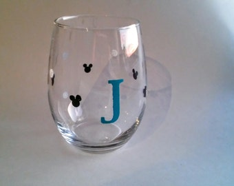 Monogram Mickey Silhouette Stemless Wine Glass