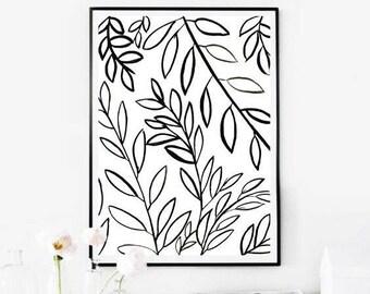Bonatical Prints,Botanical Printables,Black and White Floral Print,Black&White Botanical,Instant Download Art,Botanical Printable,Floral Art