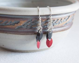 Scalemail Drop Earrings - Black and Red Dragon Scale Earrings - Lightweight Chandelier Earrings - Sterling Silver Earrings
