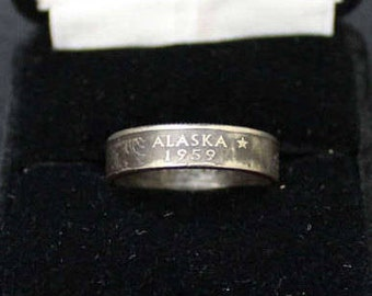 Alaska State Quarter Coin Ring Made In USA Show Your State Pride