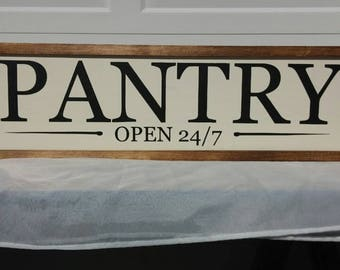 """9""""x30"""" Pantry 24/7 Handpainted Wooden Sign. Wooden Sign. Modern Farmhouse Decor. Rustic Decor. Rustic Sign. Kitchen Decor"""
