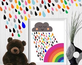 Rainbow, colorful rainbow, rainbow wall decor, cloud, Scandinavian nursery, rainbow printable, rain, rain printable kids nursery,nursery art