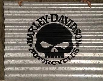 Corrugated metal sign