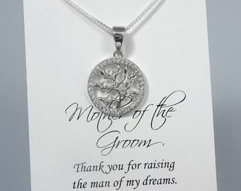 Mother in Law Gift, Mother of the Groom Gift Necklace, Mother of the Bride Gift, Tree of Life Necklace, Sterling Silver Tree of Life