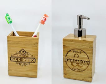 Personalized Bamboo Bathroom Set