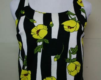 Funky 70's Floral Striped Tank