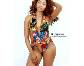 Dashiki mixed African print multi wrap monokini one piece bathing suit
