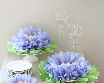 Set of 7 Giant Tissue Paper Flowers , Purple Paper Flowers, Perfect Decorations for Wedding, Birthday Party, Baby Shower