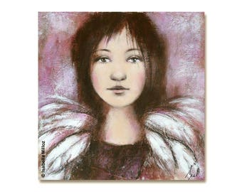 """painting """"Angel"""" girl wing feathers"""
