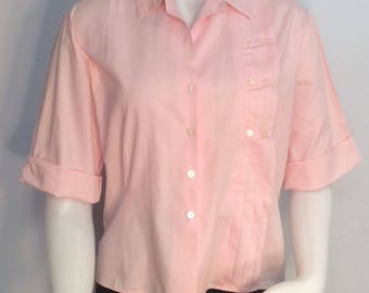Women's pink cotton short sleeve shirt by ADDY vintage 1950's decorative front theater costume rockabilly