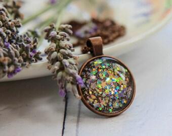 Handmade Necklace - Bronze Necklace - Stars Necklace - Statement Necklace - Sparkly Necklace