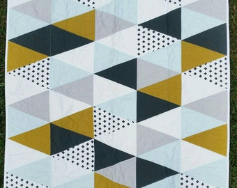 Baby boy triangle quilt | olive green | light blue | white | plus sign | modern | geometric