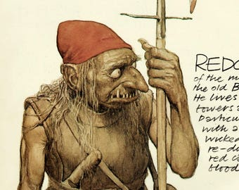Brian Froud goblin print - Red Cap - Vintage 1979 book plate from the Faeries book - myth and legend fantasy illustration
