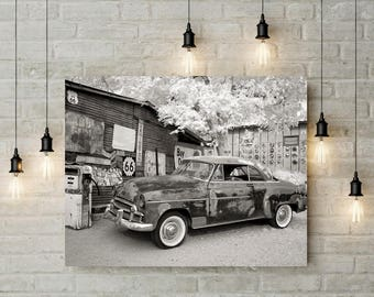 Arizona Photo, Route 66, Old Car Photo, Hackberry Arizona, Black White Photography, Rustic Decor, Farmhouse Modern, Wall Art, American West