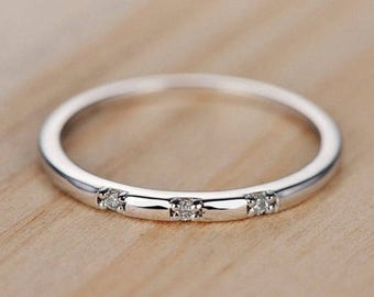 Diamond Wedding Band White Gold Engagement Ring Unique Bridal Set Anniversary Promise Stacking Delicate Dainty Three Stone Statement